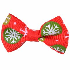 Dog bow for Christmas with snowflakes