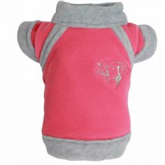 warm dog clothes for large dogs from DoggyDolly - pink dog blanket made of fleece with Panter's shoulder
