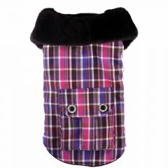 warm dog clothes for large dogs - hot dog coat with fur collar blue checkered pink