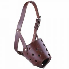 Muzzle for short noses L - GogiPet ® Genuine leather muzzle