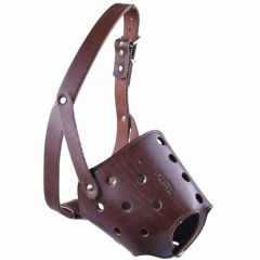 Muzzle for short noses XL - GogiPet ® Genuine leather muzzle