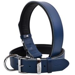 Handmade GogiPet® First Class leather dog collar blue