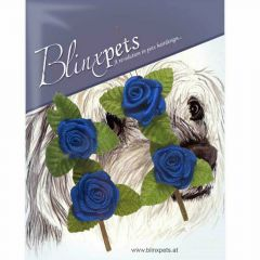 Small dark blue roses of hair as hair accessories and animal jewellery