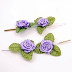 4 Pack hair jewelry - purple fabric roses