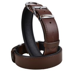 Handmade GogiPet® First Class leather dog collar brown