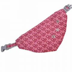 Dogs triangle scarf pink with paws M