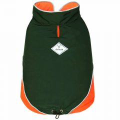 Sleeveless winter dog coat green for large dogs