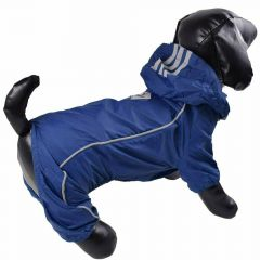 Blue raincoat with 4 legs for dogs with detachable hood