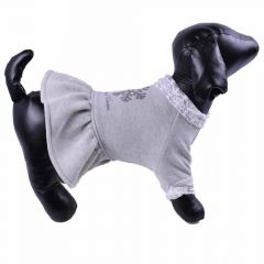 Warm dog dress - gray winter dress for dogs