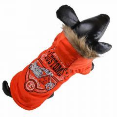 Warm anorak for dogs - dog clothes orange