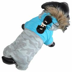 Warm anorak for dogs blue camouflage