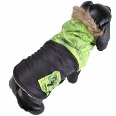 Warm dog clothing green dog coat
