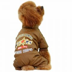GogiPet ® dog anorak brown with 4 paws - extra warm dog clothes