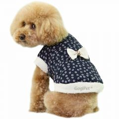 Warm dog coat with blue flowers and polka dots