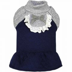 Warm dog dress blue with frills