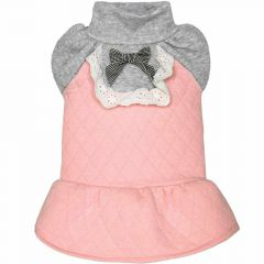 Warm dog dress pink with frills