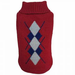 "Warm dog sweater - knitted sweater ""Rachel"" red"
