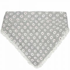 Dog collar or back cloth gray with white flowers