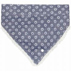 Dog collar or back cloth blue with white flowers