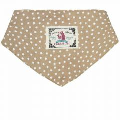 Dog collar or back cloth brown with white stars