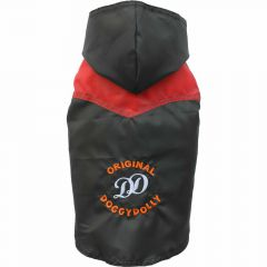 DoggyDolly pug raincoat with 2 legs black red