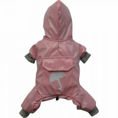 Lined pink dog raincoat with 4 legs by DoggyDolly DR051
