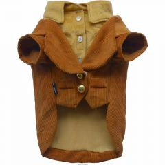 Warm brown DoggyDolly corduroy dog suit from DoggyDolly J007