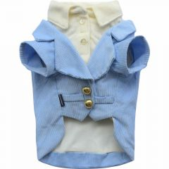 Warm dog suit blue corduroy from DoggyDolly J008