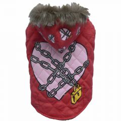 DoggyDolly dog coat - red quilted coat with heart in chains by DoggyDolly