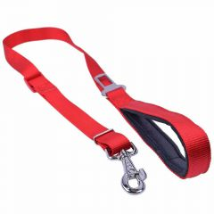 GogiPet ® 2 in 1 dog leash and car belt red
