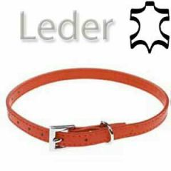 Leather dog collar red 41 cm
