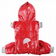 Lightly lined red raincoat for dogs for the transitional period