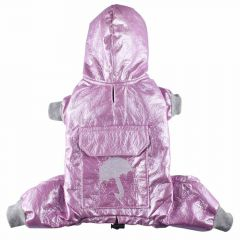 Pink dog raincoat with light padding by DoggyDolly DR014