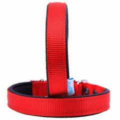 Padded GogiPet® comfort textile dog collar red