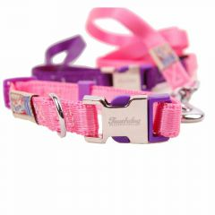 Premium dog collar with free dog leash pink S