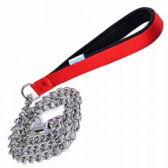 chains dog leash with snails chain and red lined handle