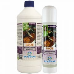 EcoCar pumping spray bottle and refilling against bad smells in vehicles