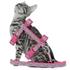Pink GogiPet cat harness with leash