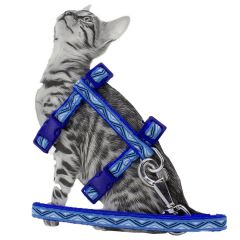 Blue GogiPet cat harness with leash