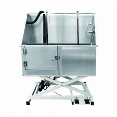Stainless steel dog bath - electrically height adjustable Deluxe version