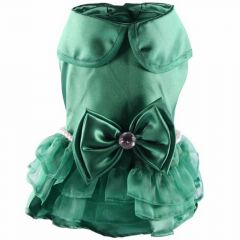 Green Dog Dress with Beads