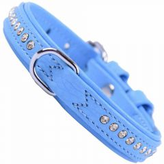 GogiPet ® Swarovski dog collar made of blue float leather with 40 cm