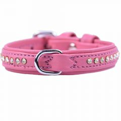GogiPet ® Swarovski dog collar made of pink float leather with 27 cm