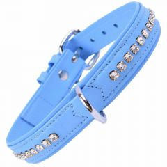 GogiPet ® Swarovski dog collar made of blue float leather with 50 cm