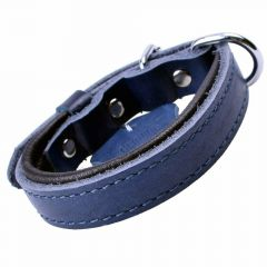 GogiPet ® Soft leather dog collar blue with 30 cm