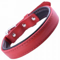 GogiPet ® Soft leather dog collar red with 45 cm