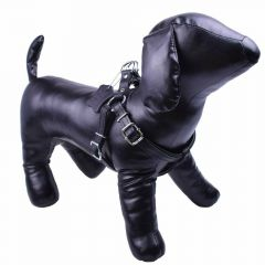 Real leather dog harness made of black first class leather