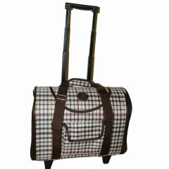 Dog trolley brown plaid for small dogs