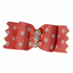 GogiPet® dog hair bow salmon with flowers