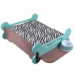Dog bed with food rack - turquoise